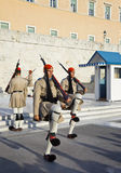 ATHENS, GREECE - AUGUST 14: Changing guards near parliament on S Royalty Free Stock Photography