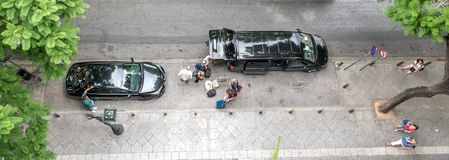 Athens Greece/August 17, 2018: tourists unloading van royalty free stock image
