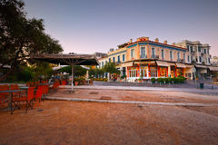 Athens, Greece. Bars and coffee shops in Thissio near ancient Agora in Athens Stock Image