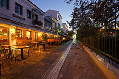 Athens, Greece. Bars and coffee shops in Thissio near ancient Agora in Athens Royalty Free Stock Photos