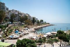 Athens, Greece - 26.04.2018: Beautiful coast of Mediterranean sea at Piraeus, Athens stock images