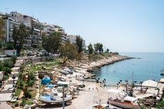 Athens, Greece - 26.04.2018: Beautiful coast of Mediterranean sea at Piraeus, Athens royalty free stock images