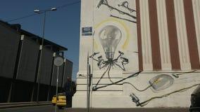 ATHENS, GREECE -  Contemporary graffiti art on city walls. stock footage