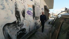 ATHENS, GREECE -  Contemporary graffiti art on city walls. stock video
