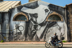 ATHENS, GREECE - Contemporary graffiti art on city walls. Royalty Free Stock Photo