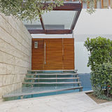 Athens Greece, contemporary house entrance glass stairs. With water pool Stock Photo