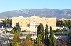 Cityscape of Syntagma in Athens Greece and the greek parliament Stock Photography