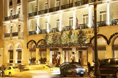 Night photography of Grande Bretagne hotel Athens Greece with Christmas decorative lights. ATHENS GREECE, DECEMBER 15 2017: night photography of Grande Bretagne stock photo