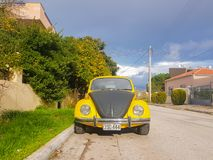 Athens, Greece 28 December 2017. Old retro sport beatle car parked on the road.  Royalty Free Stock Images