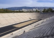 View of the ancient stadium of the first Olympic Games in white marble - Panathenaic Stadium. View of the ancient stadium of the first Olympic Games in white stock photography