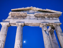 Athens Greece, the entrance of the Roman forum under the moonlight. Night in Athens Greece, the entrance of the Roman forum under the moonlight Stock Photo