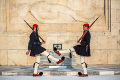 ATHENS, GREECE -  Greek soldiers Evzones dressed in full dress uniform Royalty Free Stock Photos