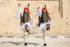 ATHENS, GREECE -  Greek soldiers Evzones dressed in full dress uniform Royalty Free Stock Images