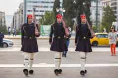 ATHENS, GREECE - Greek soldiers Evzones (or Evzoni) dressed in service uniform Royalty Free Stock Image
