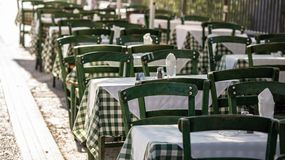 Free Athens, Greece. Greek Tavern Empty Tables And Chairs At Plaka. Stock Photos - 114439633