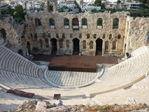 Acropolis of Athens, Greece. The Herodes Atticus Odeum, a popular tourist attraction royalty free stock image