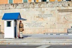 athens greece guard nära parlament royaltyfri fotografi
