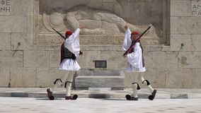 Athens, Greece - 26.04.2019: Guards on ceremonial duty at The Parliament Palace. Commemorates all those Greek soldiers stock video footage