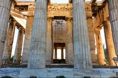 Athens, Greece. Hephaestus temple on blue sky background Royalty Free Stock Photography