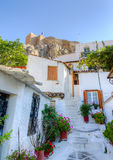 athens greece houses den traditionella plakaen Royaltyfri Fotografi