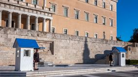Evzones - presidential ceremonial guards in the Tomb of the Unknown Soldier at the Greek Parliament. ATHENS, GREECE - JANUARY 19, 2017: Evzones - presidential royalty free stock images