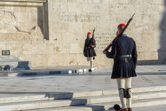 ATHENS, GREECE - JANUARY 19 2017:  Evzones - presidential ceremonial guards in the Tomb of the Unknown Soldier, Greek Parliament Stock Image