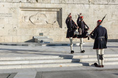 ATHENS, GREECE - JANUARY 19 2017:  Evzones - presidential ceremonial guards in the Tomb of the Unknown Soldier, Greek Parliament Royalty Free Stock Image