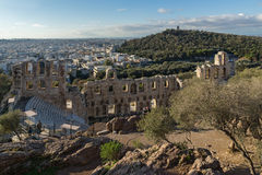 ATHENS, GREECE - JANUARY 20 2017:  Ruins of Odeon of Herodes Atticus in the Acropolis of Athens, Greece. ATHENS, GREECE - JANUARY 20 2017:  Ruins of Odeon of Royalty Free Stock Photo