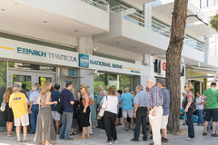 Athens, Greece 24 July 2015. Capital controls continue in Greece making people feeling  discomfort and unsecure. Stock Photos