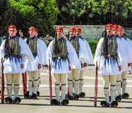 Parade changing of the guard in Athens. Athens, Greece - July 16, 2017: The ceremonial change of the guard of honor of the presidential guard near the stock images