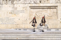 ATHENS, GREECE - 18.JULY, 2016: Evzone guarding the Tomb of Unkn Royalty Free Stock Photos