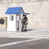 ATHENS, GREECE - 18.JULY, 2016: Evzone guarding the Tomb of Unkn Royalty Free Stock Image