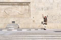 Athens, Greece - JULY 18, 2016: Evzone guarding the Tomb of Unkn Stock Photography