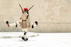 ATHENS, GREECE - JULY 06, 2012 - The funny dance of Evzones, Greek soldiers of the presidential guard in full uniform, during the royalty free stock photos