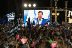 Athens, Greece, 3 July 2015. The mayor of Athens, Greek celebrities and local people demonstrarte about the upcoming referendum. Athens, Greece, 3 July 2015 Royalty Free Stock Images