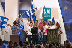 Athens, Greece, 3 July 2015. The mayor of Athens, Greek celebrities and local people demonstrarte about the upcoming referendum. Stock Photos