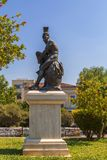 Theseus statue, Athens. Athens, Greece - July 21, 2018: Statue of Theseus, a mythical founder hero of Athens. The statue is located at a park in plaka district Royalty Free Stock Image