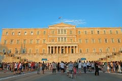 ATHENS, GREECE- JULY 18, 2018: tourists in front of the Greek Pa stock photos