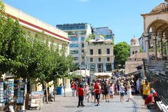 ATHENS, GREECE - JULY 18, 2018: view of Monastiraki square in At royalty free stock photo