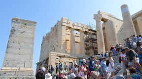 Crowd and unsafety going to Acropolis in Athens, Greece on June 16, 2017. stock photography