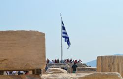 Crowd and unsafety going to Acropolis in Athens, Greece on June 16, 2017. royalty free stock photo
