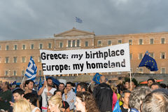 Athens, Greece, 30 June 2015. Greek people demonstrated against the government about the upcoming referendum. People in the demonstration are in favor of Royalty Free Stock Photos