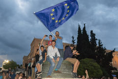 Athens, Greece, 30 June 2015. Greek people demonstrated against the government about the upcoming referendum. People in the demonstration are in favor of Stock Photo