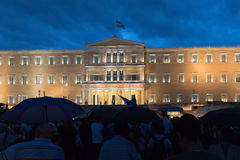 Athens, Greece, 30 June 2015. Greek people demonstrated against the government about the upcoming referendum. Stock Images