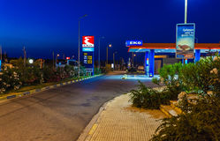 ATHENS, GREECE - JUNE 08, 2009: Night gas station on the road Royalty Free Stock Image