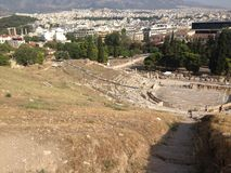 Athens greece. Looking down on Athens from the Acropolis site stock photos