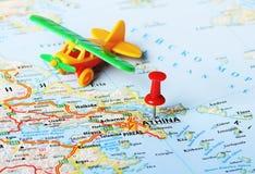 Athens  ,Greece map airplane Royalty Free Stock Photos
