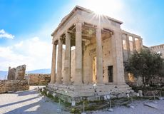 Athens, Greece - March 14, 2017: The Pandroseion, was founded north to the Old Temple of Athena in the Archaic Period on the. Acropolis of Athens, Greece royalty free stock photo