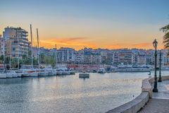 Athens, Greece - Marth 11, 2018: Evening view of Zeus Marina royalty free stock image