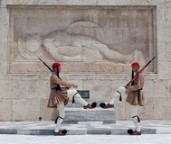 Changing of the guard on Syntagma square in Athens, Greece. ATHENS, GREECE - MAY 18, 2019: Changing of the guard in front of the Tomb of the Unknown Soldier royalty free stock images